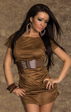 Load the image into the gallery viewer, velvety brown stretch mini dress - my sports paradise