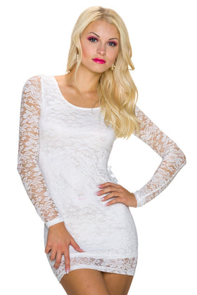 Long sleeve lace mini dress - my sports paradise