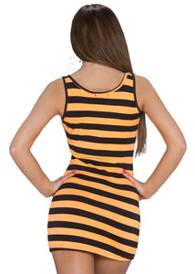 Long Top schwarz orange gestreift - my Sports Paradise
