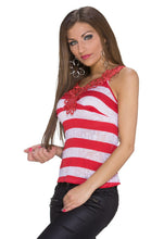 Load the image into the gallery viewer, Muse Top red and white striped with lace - my Sports Paradise