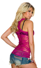 Load the image into the gallery viewer, strap top with continuous floral pink lace - my Sports Paradise