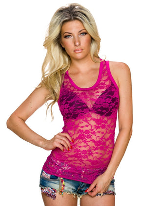Strap top with continuous floral pink lace - my Sports Paradise