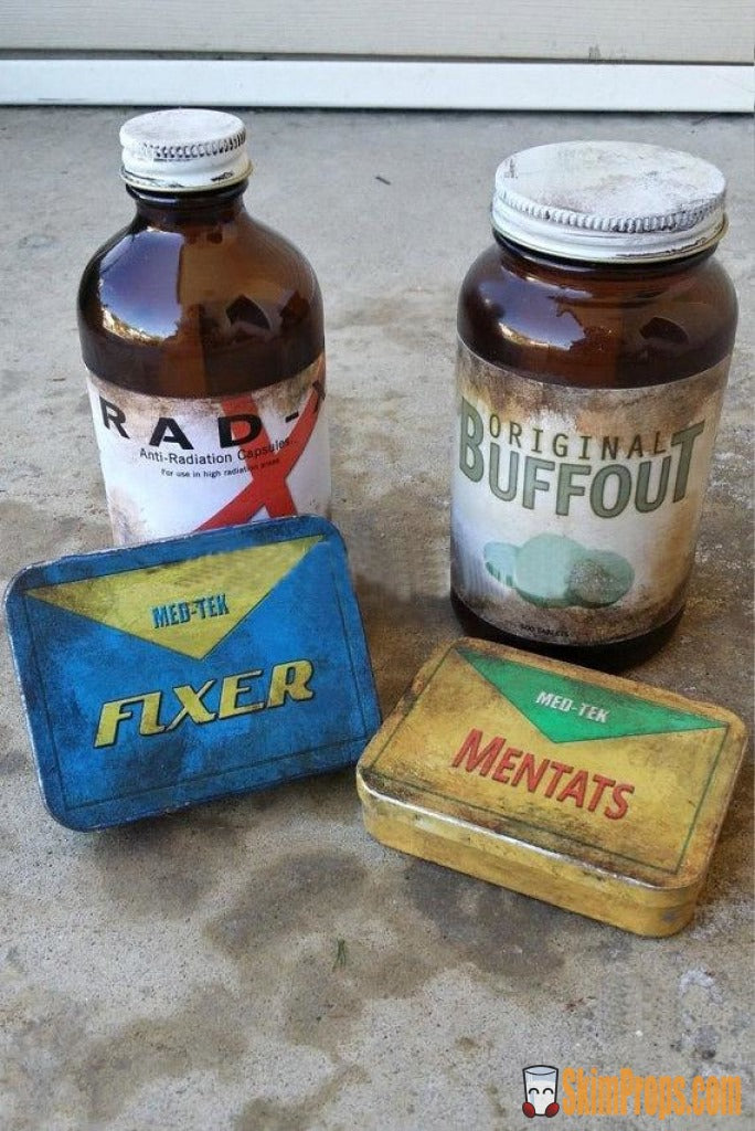 Fallout Chem Pack Prop Bundle. Cosplay Or Wasteland Display: Buffout Bottle Rad X Mentats & Fixer