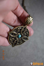 Amulet Of Mara Skyrim Necklace W/ Turquoise Stone. Bronze Wedding Engagement Jewelry Cosplay Chain