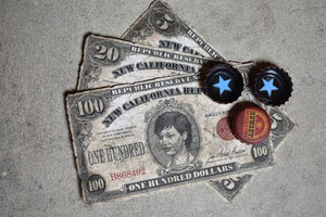 New Vegas Fallout Wasteland Money Bundle! 3 NCR Bills 3 Sunset Sarsaparilla Star Bottle Caps! Nuka