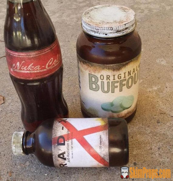 Fallout Bottle Pack Cosplay Wasteland Props Or Display Pieces. 3Pack Chems Nuka-Cola Rad-X & Buffout