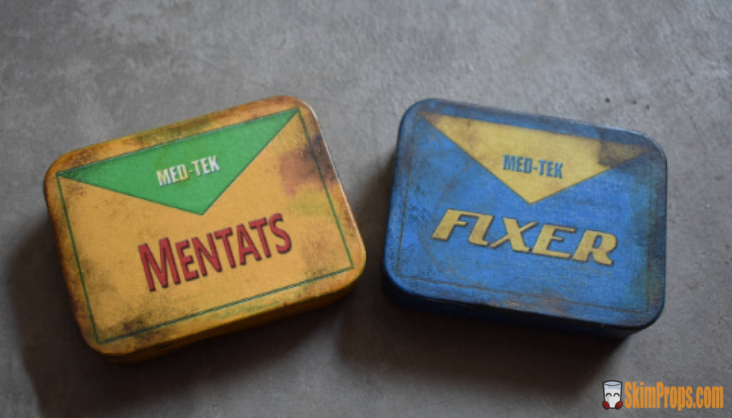 Fallout Fixer & Mentats In Metal Tin Cosplay Prop Or Display Piece From Video Game. 2-Pack Props