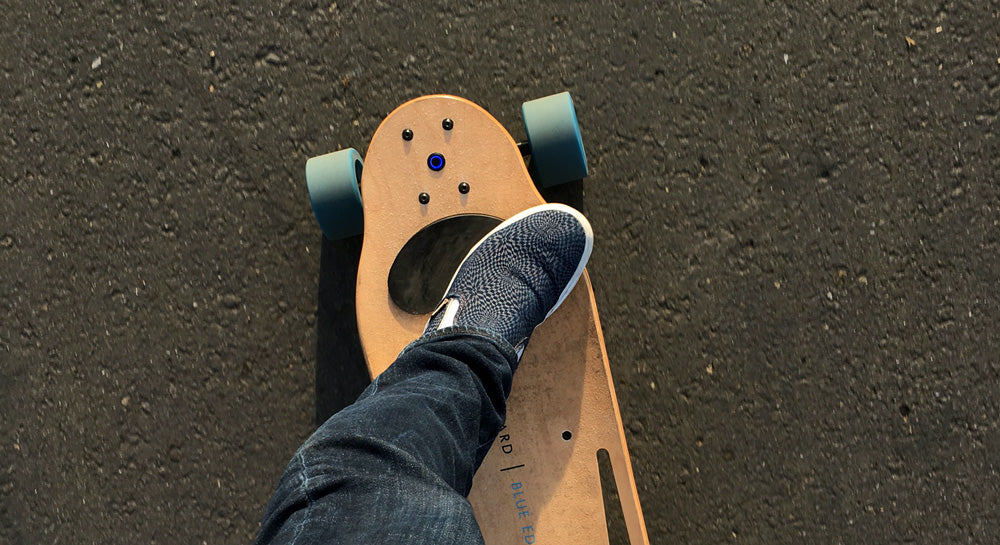 riding electric skateboard for fun