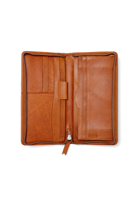 Leather Zip Around Travel Wallet  - Cognac Tan  ex display Sale