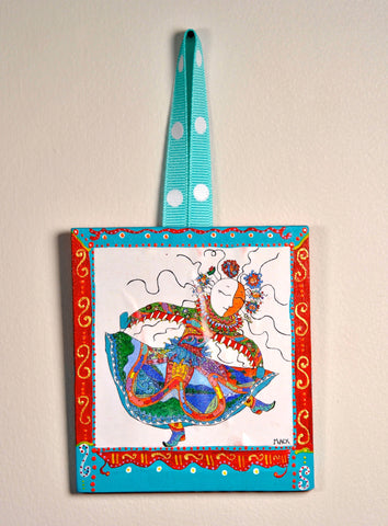 Mother of Patience & Ingenuity Ornament (hand painted wood) and Card Combination