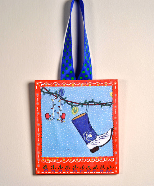 Festive Boots Ornament (hand painted/wood) and Card Combination