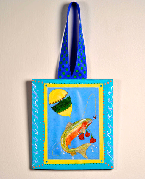 Fishy Holiday! Ornament (hand painted) and Card Combination