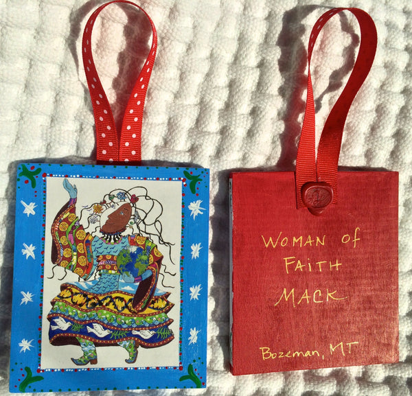 Woman of Faith Ornament (Hand Painted) and Card Combination
