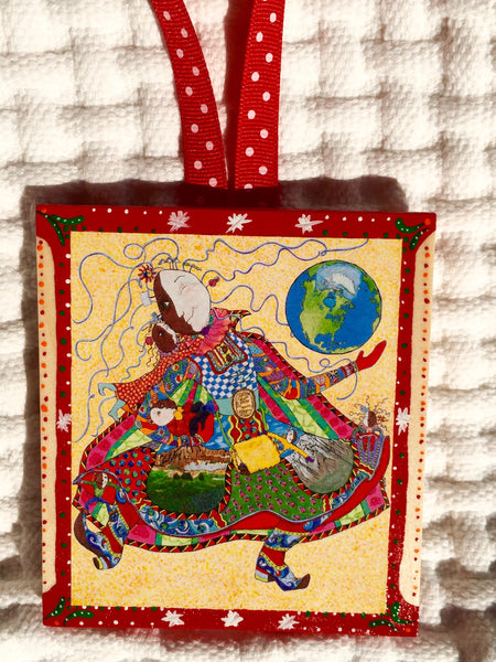Mighty Grandma Ornament (hand painted/wood) and Card Combination