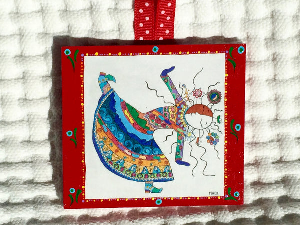 Lover of Life Ornament (hand painted/wood) and Card Combination