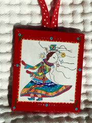 Carrier of Life's Burdens Ornament (wooden, hand painted) and Card Combination