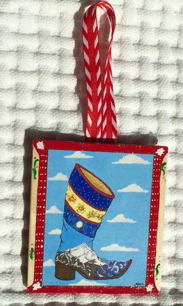Cowboy Boot Ornament (hand painted/wood) and Card Combination (Lone Boot)
