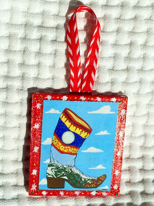 Cowboy Boot Ornament (hand painted/wood) and Card Combination (Spanish Boot)