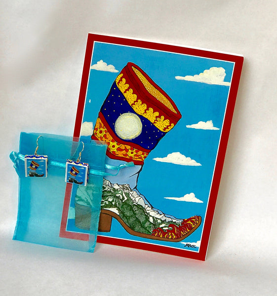 Cowboy Boot Earrings (Spanish) and Card Combination