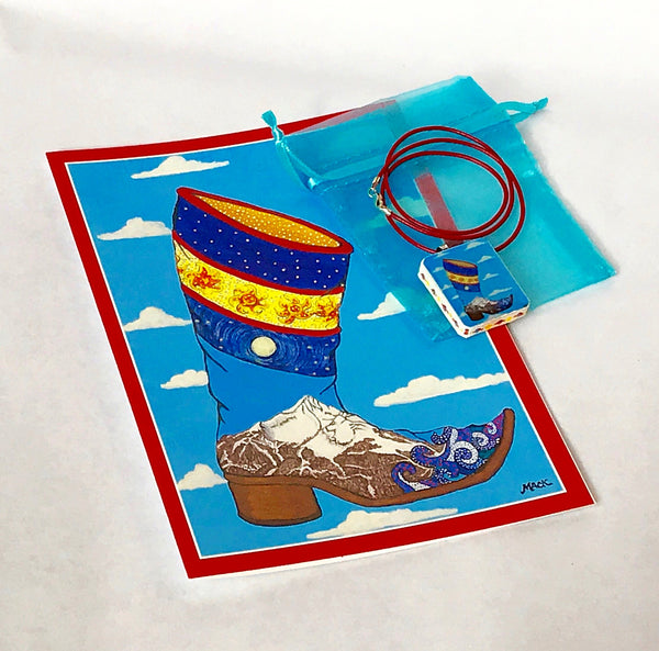 "Cowboy Boot Necklace ""Lone Boot"" (Sterling silver/red leather) and Card Combination"