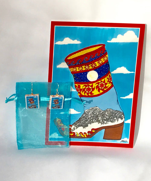 Cowboy Boot Earrings and Card Combination (Bridger)