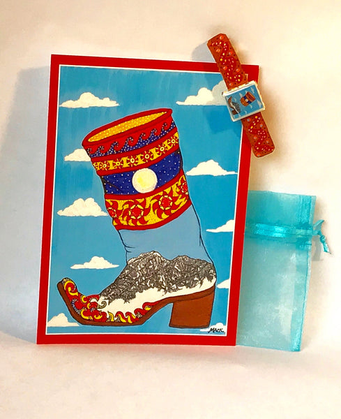 Cowboy Boot Barrette and Card Combination