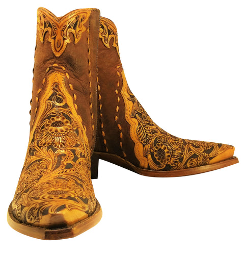 Hand Carved / Tooled w/ Distressed Kidd & Buck Stitched Handmade Ankle Boots