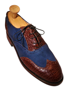 Genuine American Alligator Appointed Oxfords paired with Navy Horween Nubuck