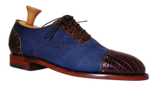 Load image into Gallery viewer, Genuine American Alligator Appointed Oxfords paired with Navy Horween Nubuck