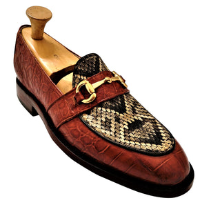Genuine American Alligator & Eastern Diamondback Rattlesnake Loafers with Brass Horse Bit Snaffle