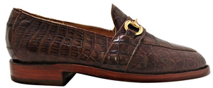 Genuine American Alligator Belly Cut Loafer w/  Brass Horse Bit Snaffle