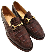 Load image into Gallery viewer, Genuine American Alligator Belly Cut Loafer w/  Brass Horse Bit Snaffle