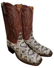 Load image into Gallery viewer, Genuine Diamondback Rattlesnake w/ Calf Tops Handmade Boots