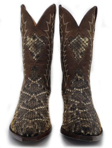 Genuine Diamondback Rattlesnake w/ distressed Kidd Tops and Diamondback Inlay Handmade Boots