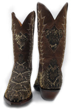 Load image into Gallery viewer, Genuine Diamondback Rattlesnake w/ distressed Kidd Tops and Diamondback Inlay Handmade Boots