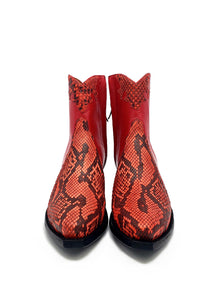 "Ready To Wear Genuine Burmese Python & Kidd Ankle Boots with an X5/8"" toebox and 1.5"". Size 8C"