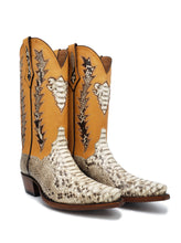 "Load image into Gallery viewer, Ready To Wear Burmese Python w/ Honey Remuda Tops. Size X5/8 toe box and 1.5"" heel. Size 10D"