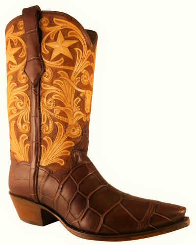 ARDITTI / RESLEY Limited Edition Genuine American Alligator Longhorn Hand Carved Handmade Boots