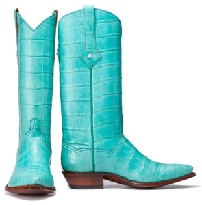 Tiffany blue Geuine American Alligator Belly Handmade Boots