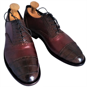 Cognac Italian Shell Cordovan Appointed w/ Genuine American Alligator Captoe Oxford