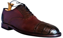 Load image into Gallery viewer, Cognac Italian Shell Cordovan Appointed w/ Genuine American Alligator Captoe Oxford