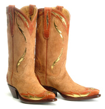 "Load image into Gallery viewer, ""El Sol"" Genuine Suede w/ Kidd Skin & Calf Inlay Handmade Boots"
