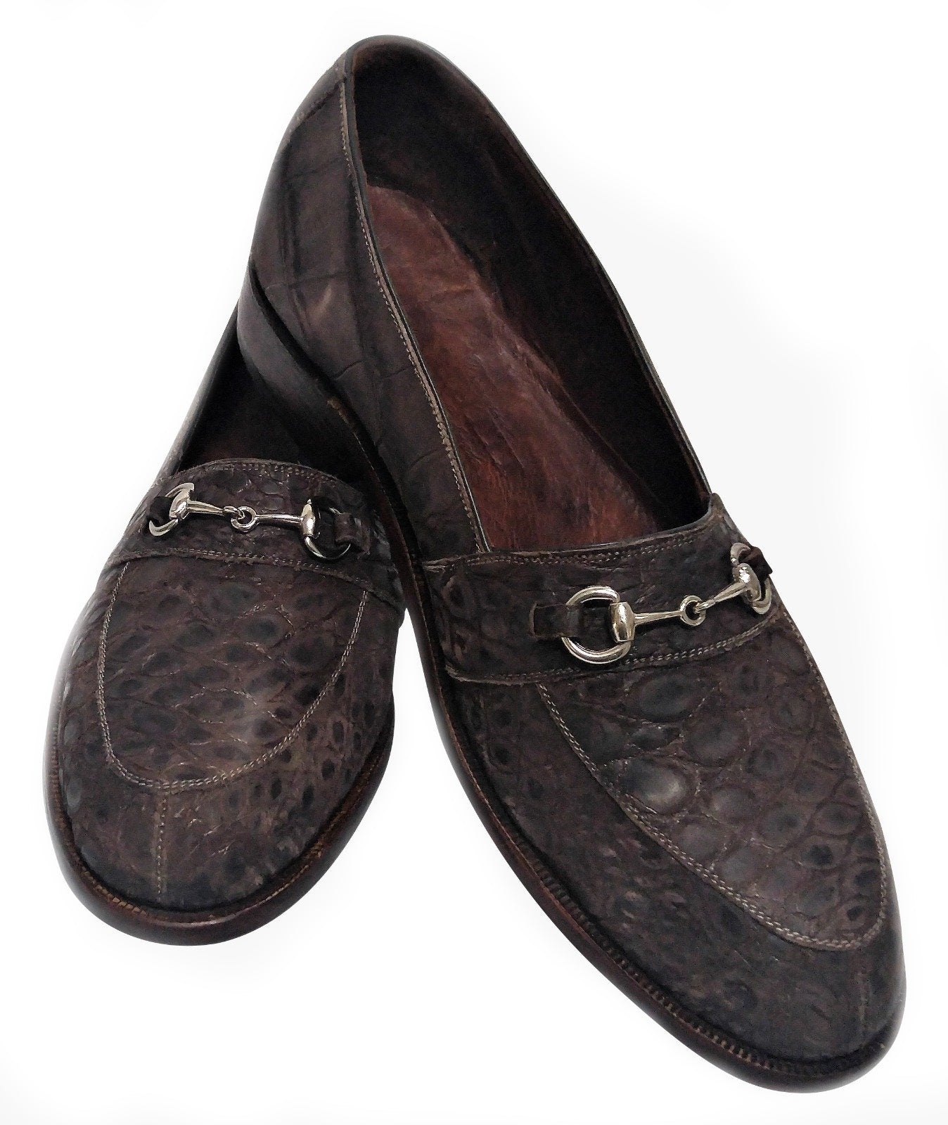 Sueded Genuine Alligator Loafers with Horse Bit Snaffle