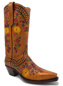"Ready To Wear ""Secret Garden"" Fully Hand Carved ARDITTI original Handmade Boots. X5/8"" toe and 1.5"" heel. Size 8C"