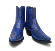 "Load image into Gallery viewer, Ready To Wear Blue Full Genuine Burmese Python Ankle Boots 8.5C, X5/8 toe and 1.5"" Heel."