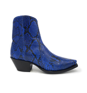 "Ready To Wear Blue Full Genuine Burmese Python Ankle Boots 8.5C, X5/8 toe and 1.5"" Heel."