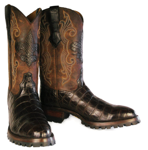 Genuine American Alligator Belly cut Boots w/ Alligator Inlay & Lug Soles - Handmade Boots