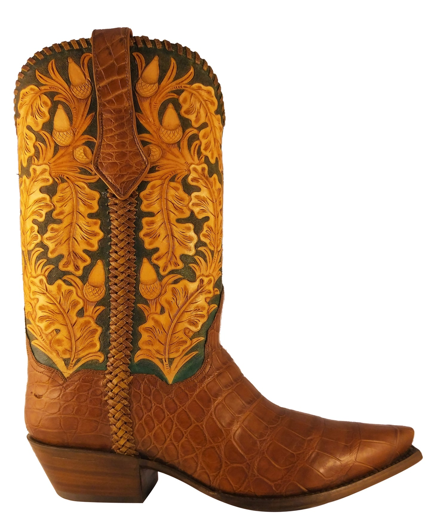 ARDITTI / RESLEY Limited Edition Genuine American Alligator Hand Carved Autumn Acorns Handmade Boots