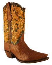 Load image into Gallery viewer, ARDITTI / RESLEY Limited Edition Genuine American Alligator Hand Carved Autumn Acorns Handmade Boots