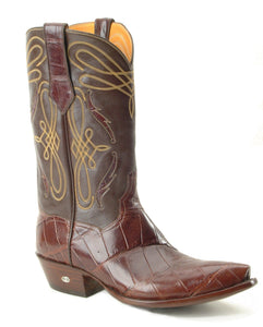 Genuine American Alligator Belly boot w/ Alligator Inlay Handmade Boots